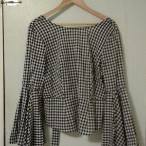 Black white check blouse